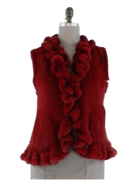 Bold Feminine and Gorgeous Ruffled Crimson Knit Mink Vest