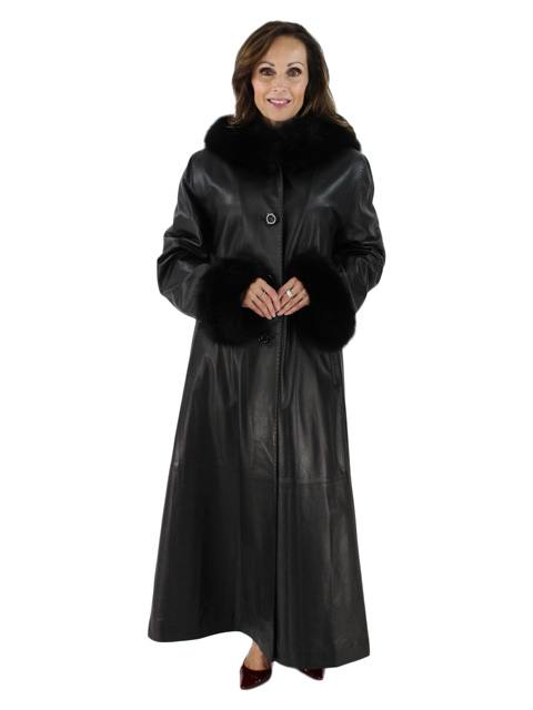 Long and Lean Beautiful Black Leather Hooded Coat with Matching Fox Trim