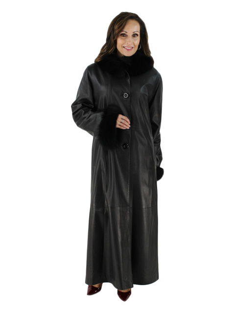 Long Lean Plus Size Beautiful Black Leather Hooded Coat with Matching Fox Trim