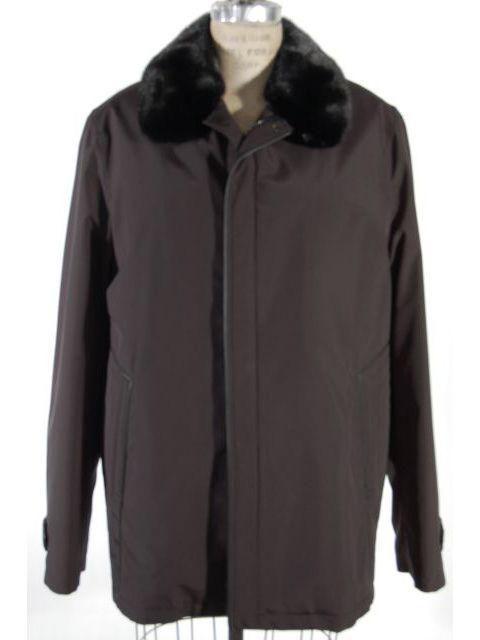 Black Fabric Stroller w/ Detachable Mink Collar (Badger Lining)