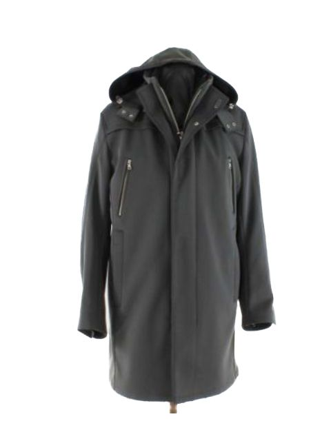 Practical Black Water Repellant Warm Parka with Removable Hood