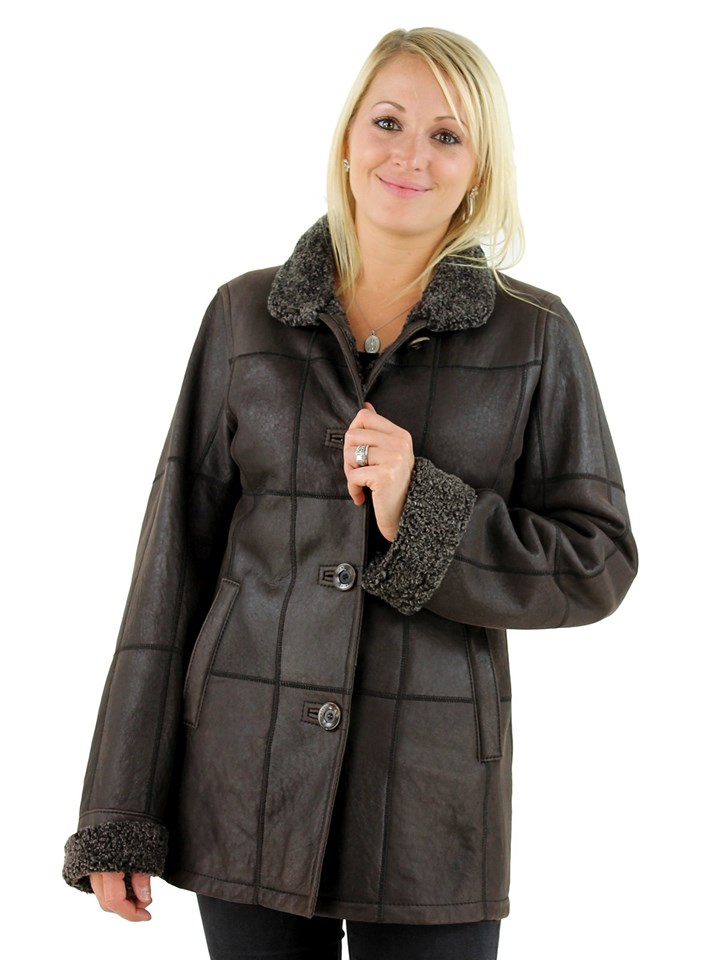 Woman's Dark Brown Shearling Lamb Jacket