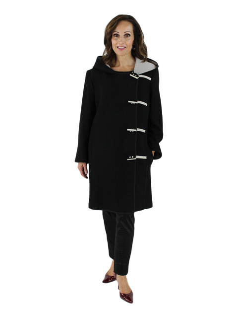 Nostalgic Updated Black and Taupe Boiled Wool Car Coat with Asymetrical Toggles