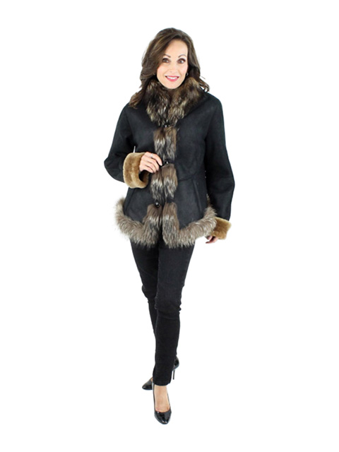 Dark Brown Shearling Jacket from Spain (Finn Raccoon Trim)