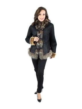 Women's Dark Brown Shearling Jacket with Finn Raccoon Trim