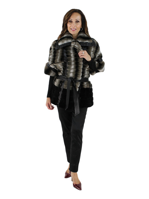 Lake Como in Winter Gorgeous Belted Black and Grey Rex and Leather Jacket