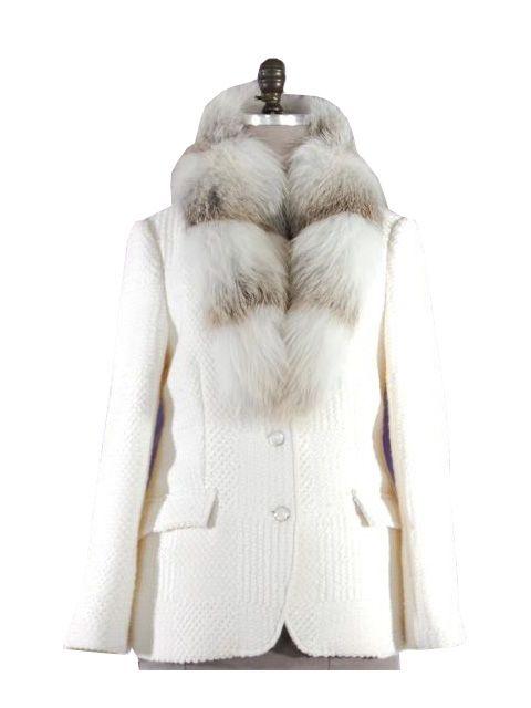 Bianco Beige Italian Wool Blazer with Removable Grey Fox Collar