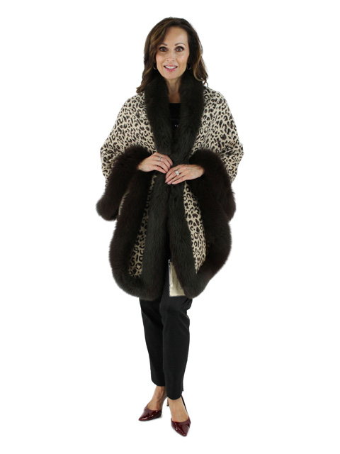Wear Everywhere Elegant to Sporty Animal Print Cashmere Cape with Fox Trim