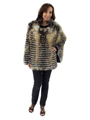 Gorski Woman's Cross Fox Layered Fur Poncho