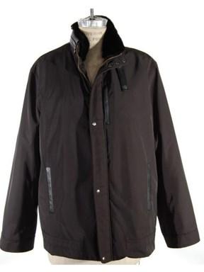 Black Fabric Jacket (Mink Collar and Sheared Rex Rabbit Lining)