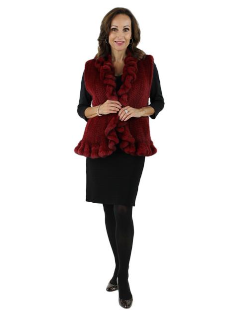 Bold Feminine and Gorgeous Ruffled Crimson Knit Mink Vest