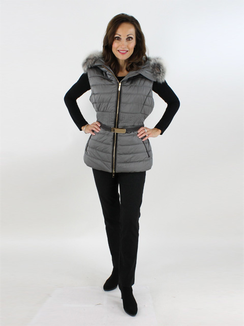 Woman's Grey Apres-Ski Quilted Fabric Vest