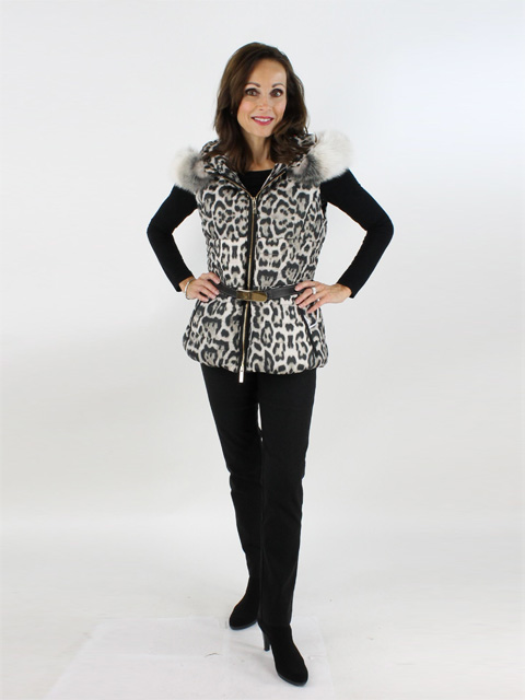 Cafe Leopard Fabric And Fox Vest