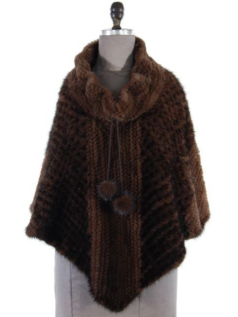 Mahogany Mink Knit Poncho with Directional Patterned Fur