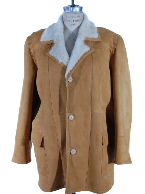 Sophisticated Ranch Style Whiskey Shearling Coat with Fleece