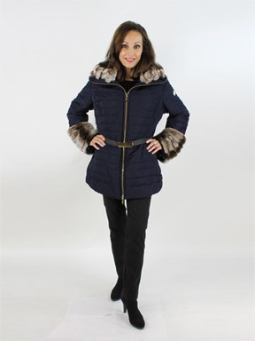 Gorski Woman's Navy Fabric Apres-ski Jacket