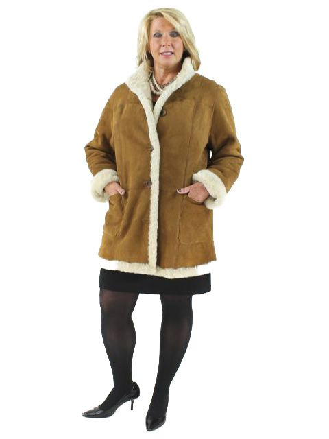 By the Campfire Ski in Vail Plus Size Whiskey Shearling Jacket