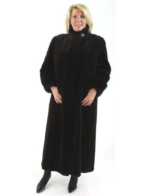 Sweeping Dark Chocolate Brown Sheared Mink Full Length Coat
