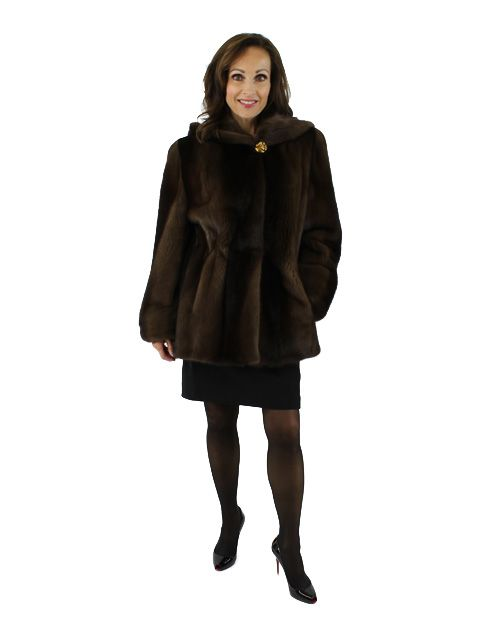 Rare Degrade Brown Mink Parka Reversible to Matching Rain Fabric