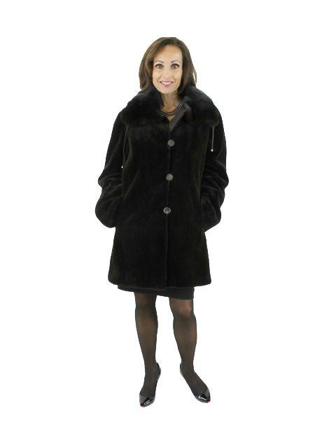 Deep Brown Sheared Reversible Mink Jacket (Gatherable Collar)