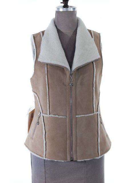 Light Weight Beige Shearling Lamb Vest (Shearling Seam Detail)