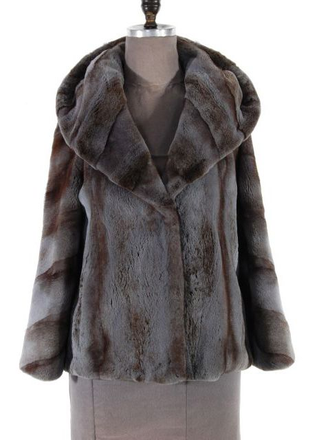 Neutral Semi Sheared Mink Parka Jacket (Double Fur Hood)