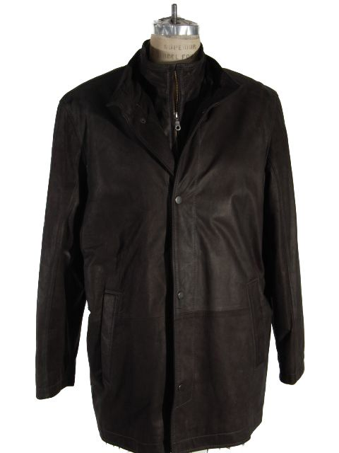 Matte Coal Black Leather Jacket with Double Stand up Collar Front