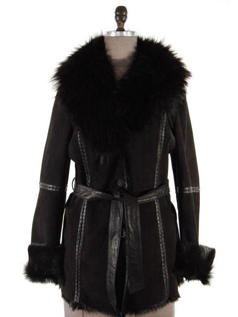 Black Shearling Goat Suede Jacket (Finn Raccoon Collar)