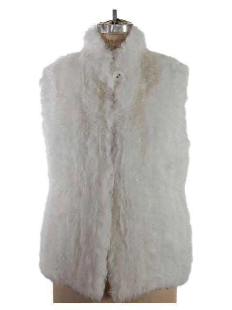 Elegant Snow White Kalgan Lamb Vest with Gatherable Waist