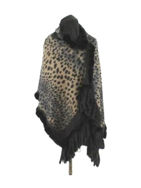 Luxurious Black Leopard Print Cashmere Wrap with Rex Rabbit Trim