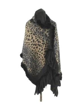 Luxurious Black Leopard Print Cashmere Wrap with Rex Rabbit Trim