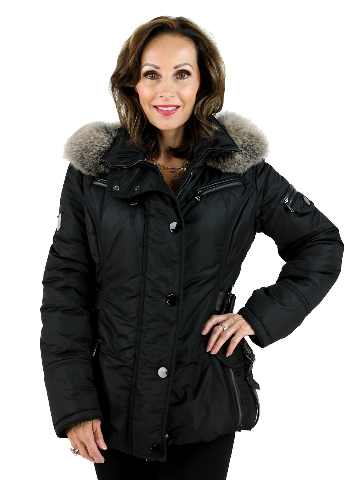 Gorski Woman's Italian Black Apres-Ski Jacket with Fox Trimmed Hood and Leather Details