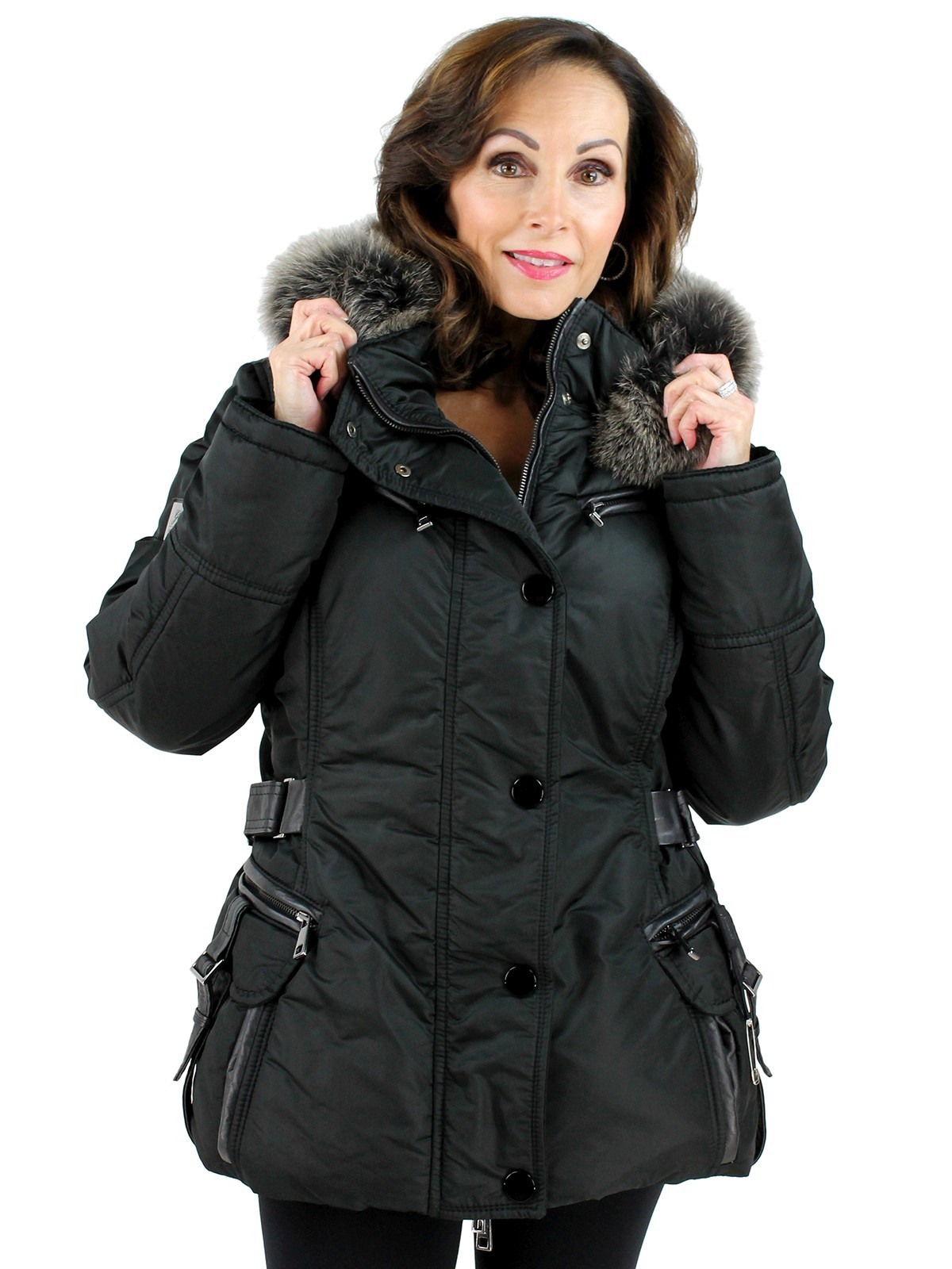 69578070d04a Gorski Woman s Apres Ski Jacket (Fox Trimmed Hood and Leather Details)