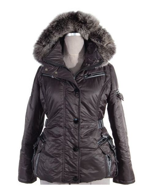 Designer Apres Ski Jacket (Fox Trimmed Hood and Leather Details)
