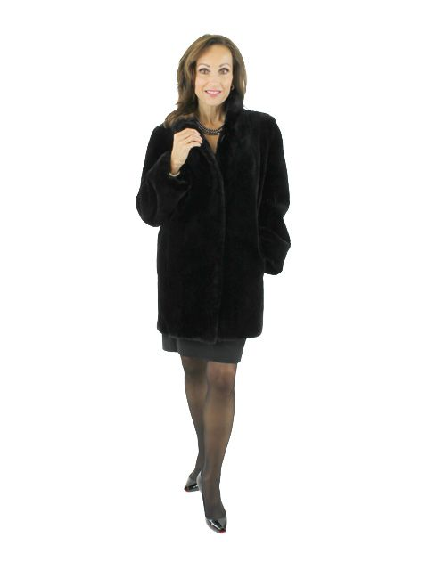 Day to Evening Classic Black Sheared Beaver Jacket (Reversible)