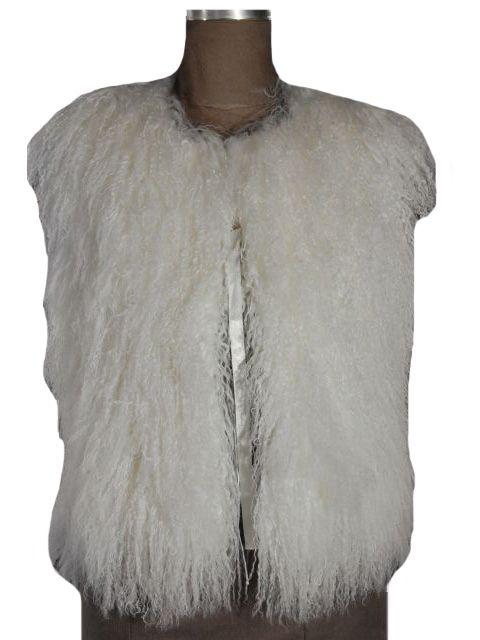 Gorski Designer White Tibetan Lamb Vest with Satin Tie Closure