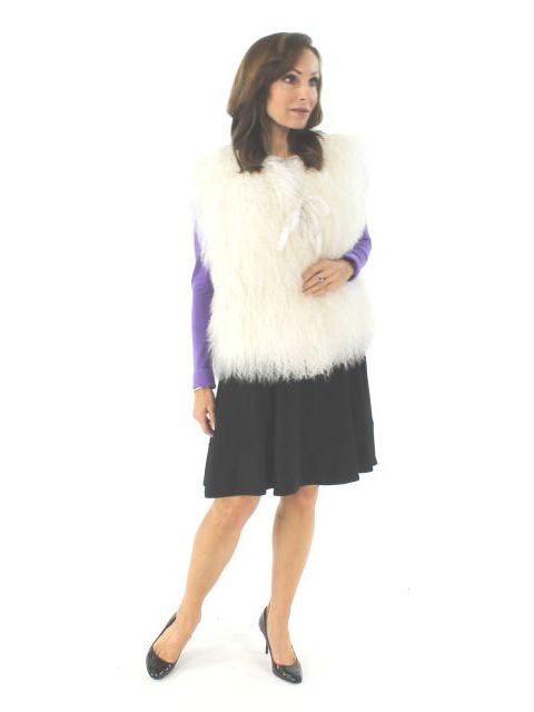 Italian Designer Beautiful Tibetan Lamb Vest (Satin Tie Closure)