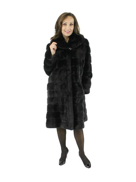 One of a Kind Art Deco Gorski Designer Black Mink 7/8 Fur Coat