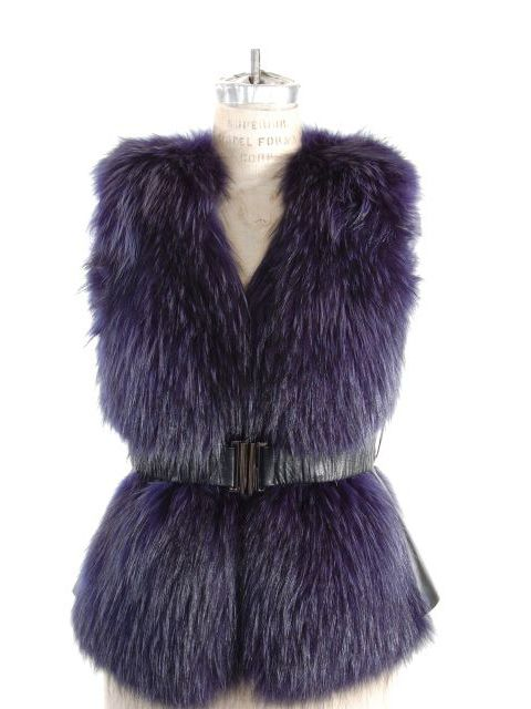 Stunning Belted Blue Finn Raccoon Vest with Leather Side Inserts