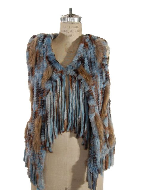 Fun, Fun, Fun Denim Blue and Beige Oh so Soft Rabbit Knit Vest