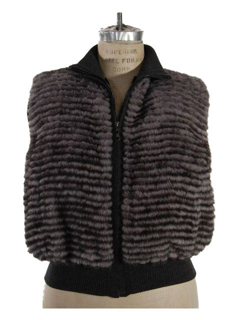 Gorgeous Grey Mink Knit Vest (Wool Trim and Snow Leopard Lining)