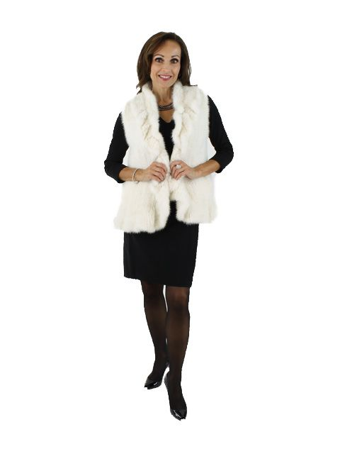 Bold Be Feminine Be Gorgeous Ruffled Natural White Knit Mink Vest