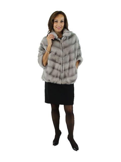 Amazing Grey Sheared Mink Directional Design Mink Jacket