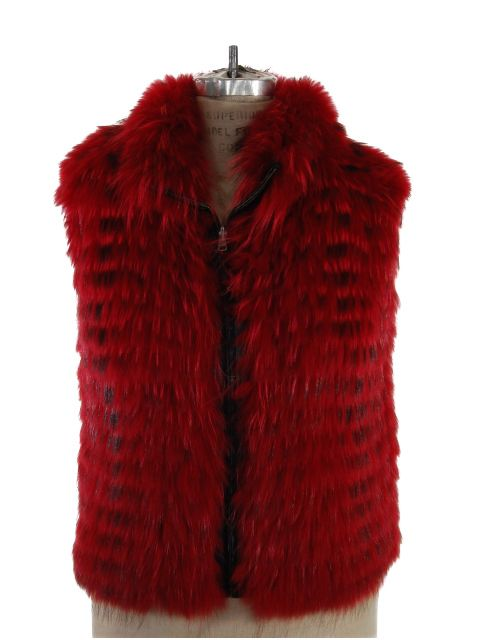 Two Looks in One Red Finn Raccoon Vest Reversible to Black Boucle