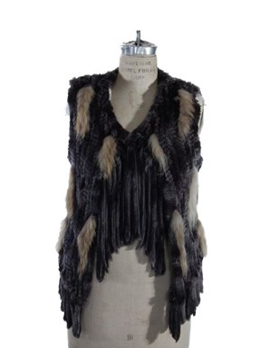 Fun, Fun, Fun Black and Greige Oh so Soft Rabbit Knit Vest
