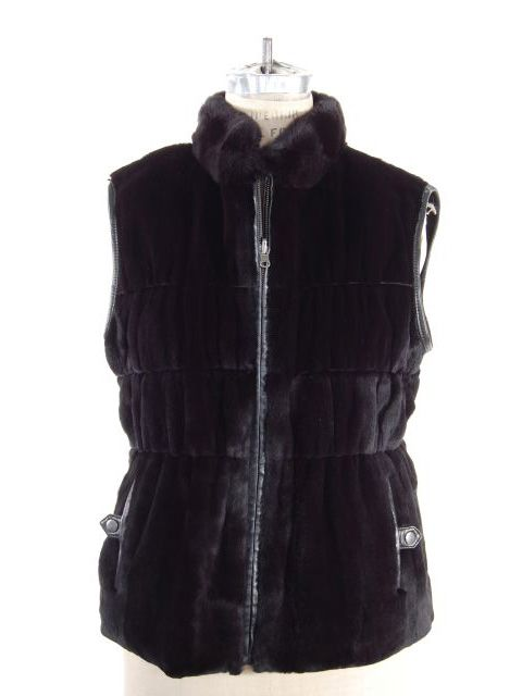 Sporty Black Rex Rabbit Leather Trimmed Vest with Gathered Waist