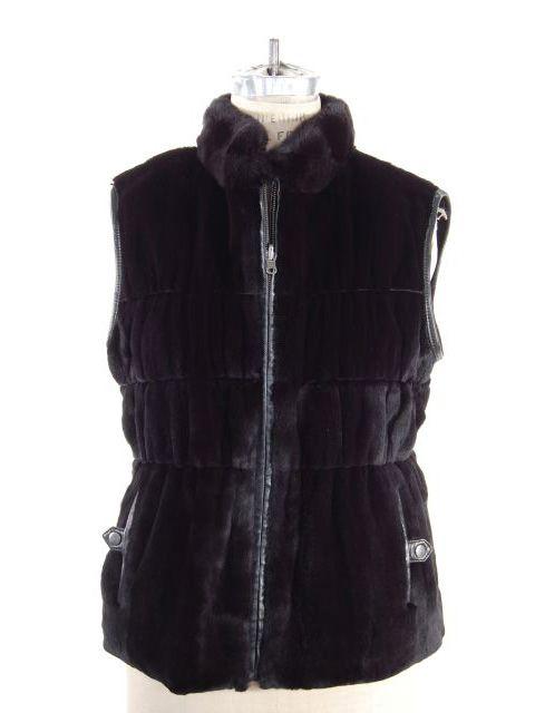 Unique Black Rex Rabbit Leather Trimmed Vest with Gathered Waist