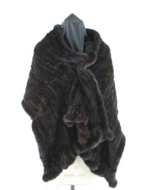 Magnificent Mahogany Knit Mink Stole with Very Feminine Ruffles