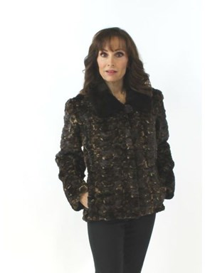 Woman's Fitted Sheared Mink Fur Section Jacket