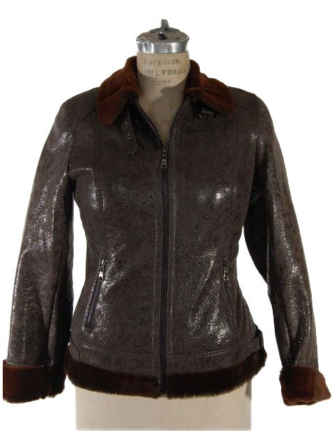 Stunning Brown Fitted Shearling Jacket (Shearling Collar)